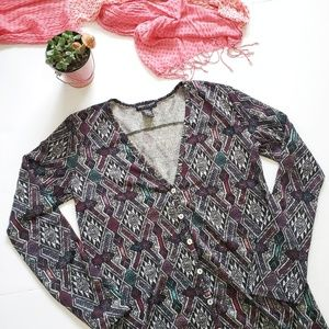About A Girl Sweaters - 3 For $15 Aztec Print Knit High Low Tunic Cardigan